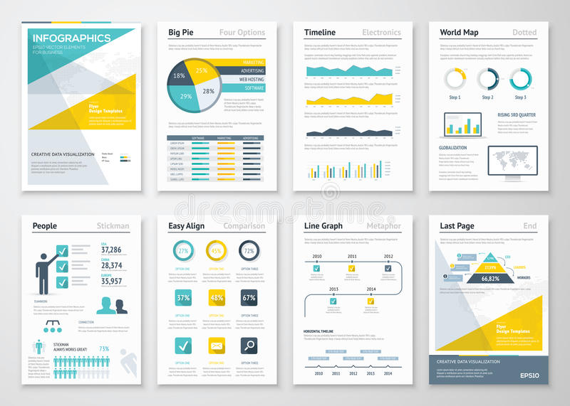 Los gráficos de la información del negocio vector los elementos para los folletos corporativos stock de ilustración