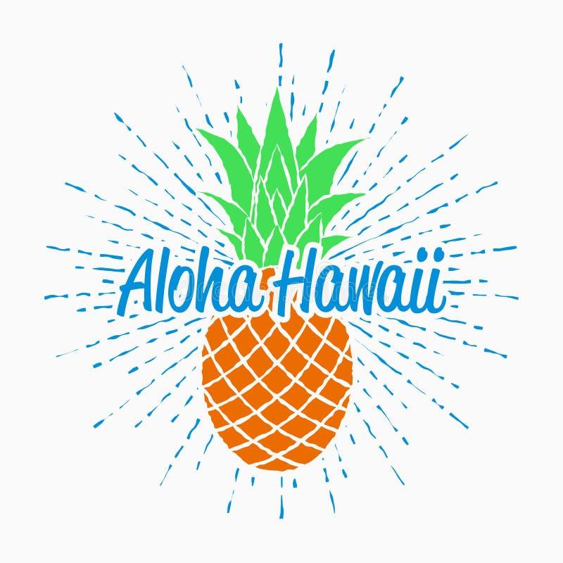 Los gráficos de la tipografía de Aloha Hawaii para la camiseta con el vintage de la piña y del resplandor solar diseñan para la r ilustración del vector