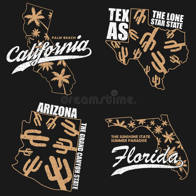 Los gráficos de la tipografía de California, de Tejas, de Arizona y de la Florida fijaron para la camiseta, ropa Impresión para l ilustración del vector