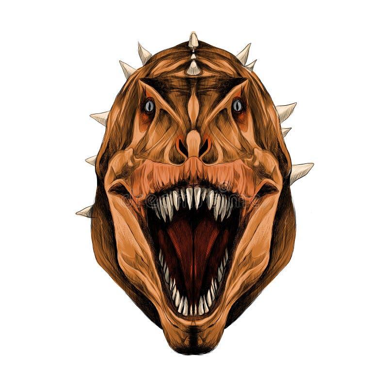 Los gráficos de vector abiertos del bosquejo de la boca de la cabeza del dinosaurio ilustración del vector
