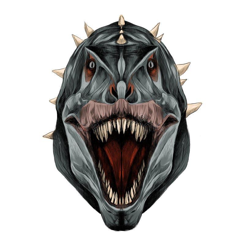 Los gráficos de vector abiertos del bosquejo de la boca de la cabeza del dinosaurio stock de ilustración