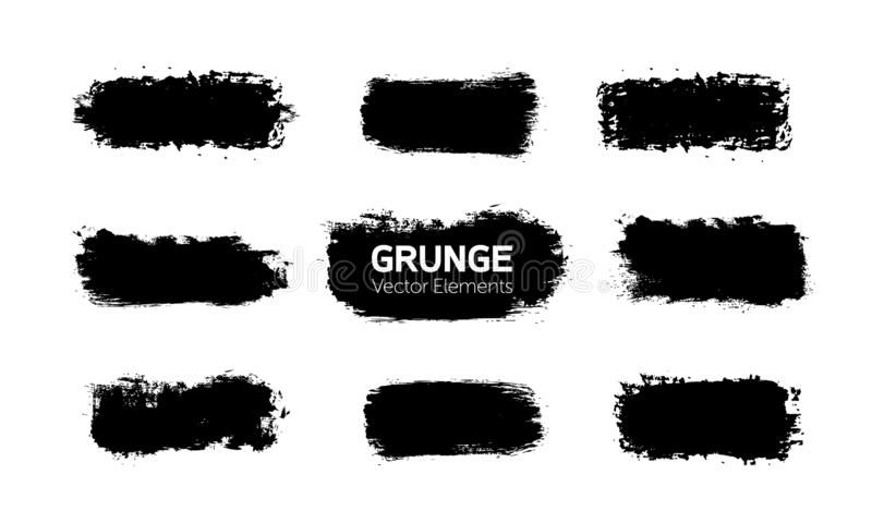Los gráficos del arte forman elementos Movimiento negro abstracto del cepillo de la tinta de la pintura para su uso del diseño Si stock de ilustración