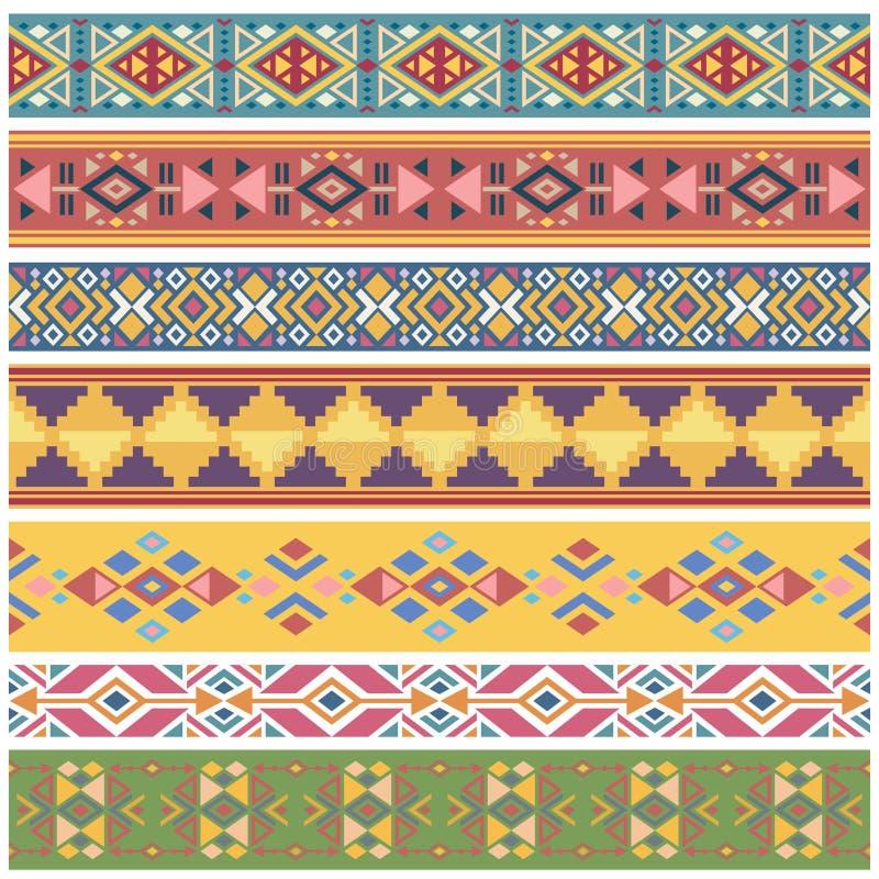 Los gráficos tribales del nativo americano geométrico antiguo vector las fronteras inconsútiles stock de ilustración