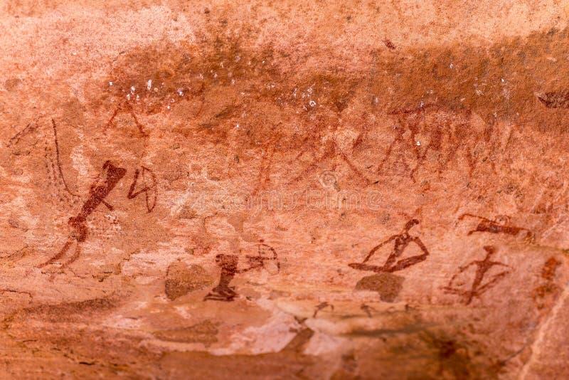 Los grabados prehistóricos famosos de la roca fotografía de archivo