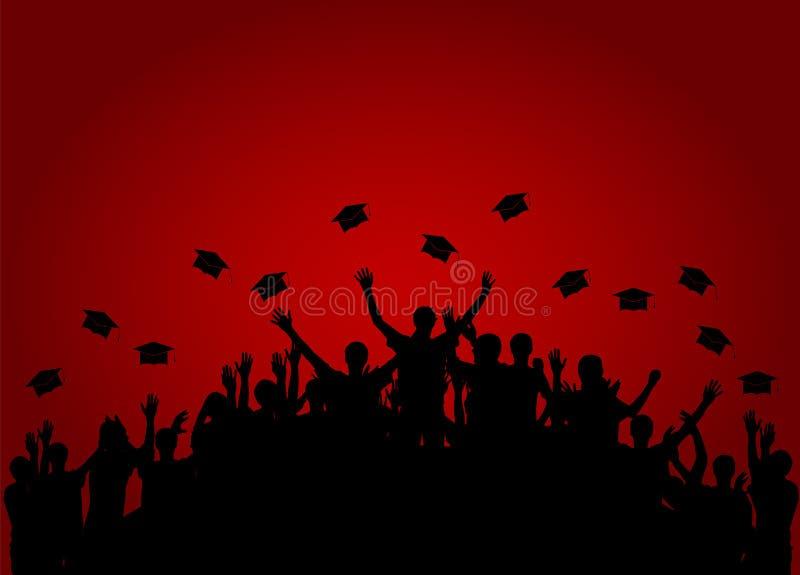 Los graduados, gente lanzan el casquillo académico cuadrado, casquillo de Oxford stock de ilustración