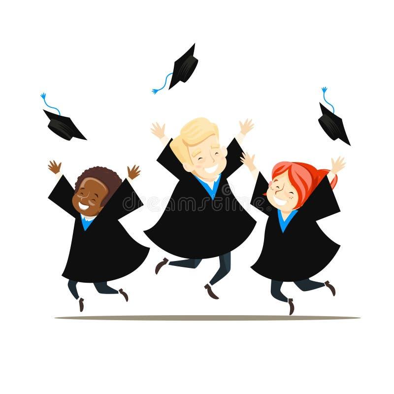 Los graduados jovenes disfrutan y lanzan sus sombreros stock de ilustración