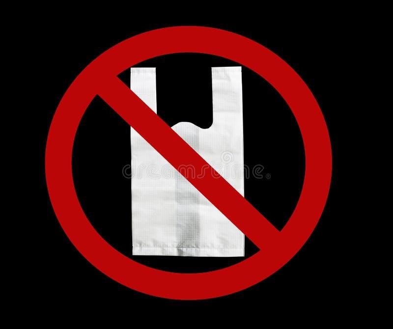 Los grandes almacenes no dicen la ninguna bolsa de plástico Las ningunas bolsas de plástico hacen campaña Concepto del día del am imagen de archivo libre de regalías