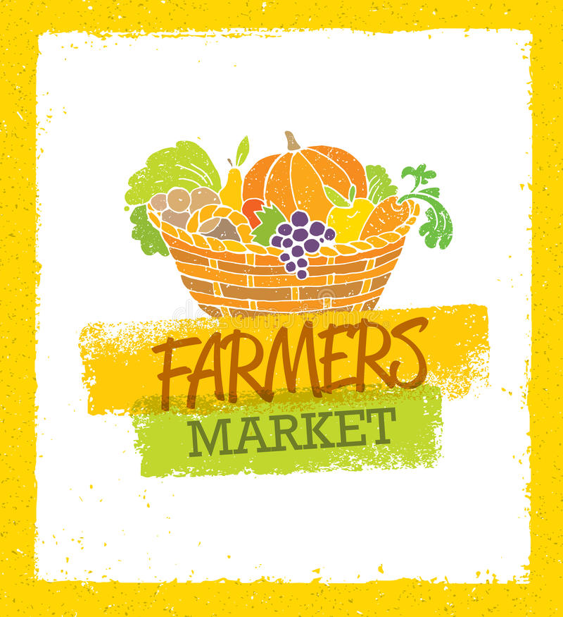 Los granjeros comercializan concepto local orgánico creativo del vector de la comida Bróculi orgánico fresco de las verduras Bask libre illustration