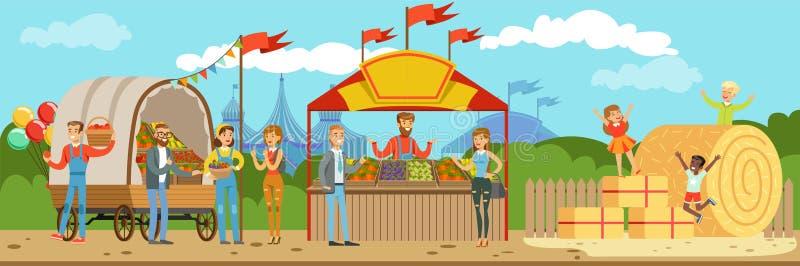 Los granjeros comercializan, el granjero de sexo masculino que se coloca detrás de contador con los productos agrícolas hechos en stock de ilustración