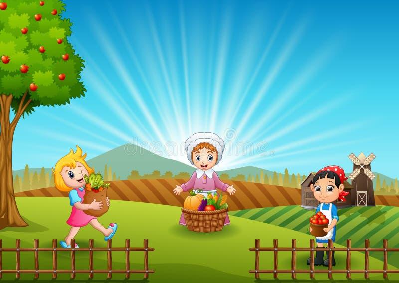 Los granjeros de las mujeres están cosechando en la mañana ilustración del vector