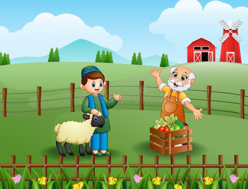 Los granjeros felices hablando del trabajo en la cerca interior ilustración del vector