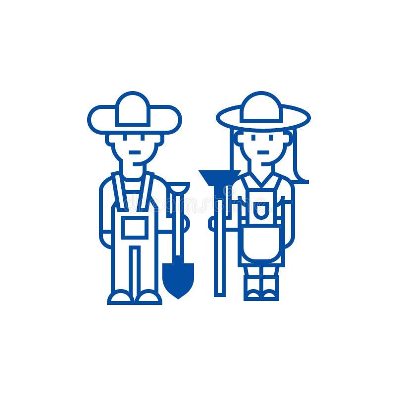 Los granjeros, la mujer y el hombre con las herramientas alinean concepto del icono Granjeros, mujer y hombre con el símbolo plan libre illustration