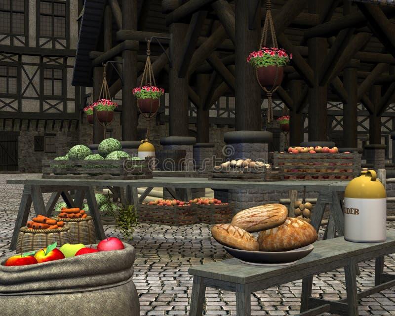 Los granjeros ponen en un mercado medieval stock de ilustración