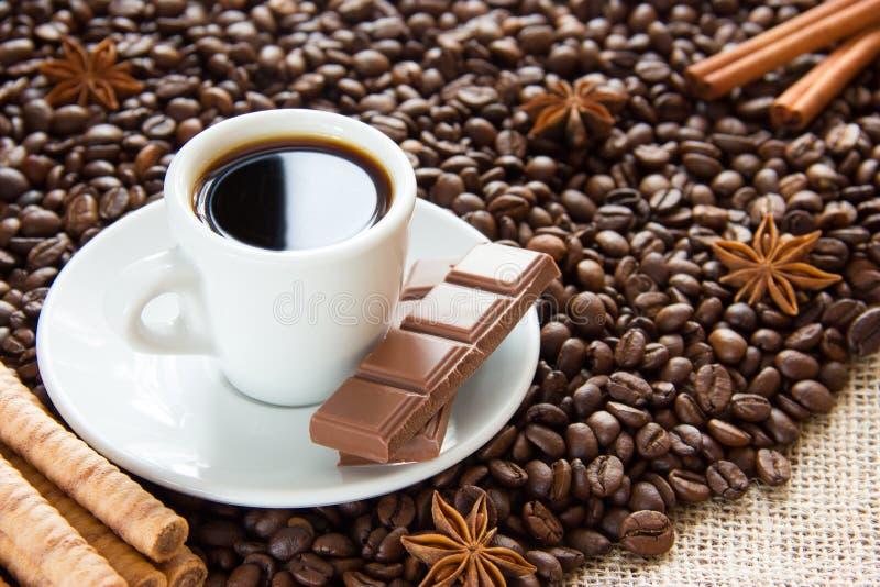 Los granos de café fritos con una taza en un platillo con un café express beben con el chocolate del canela y del anís y con lech foto de archivo