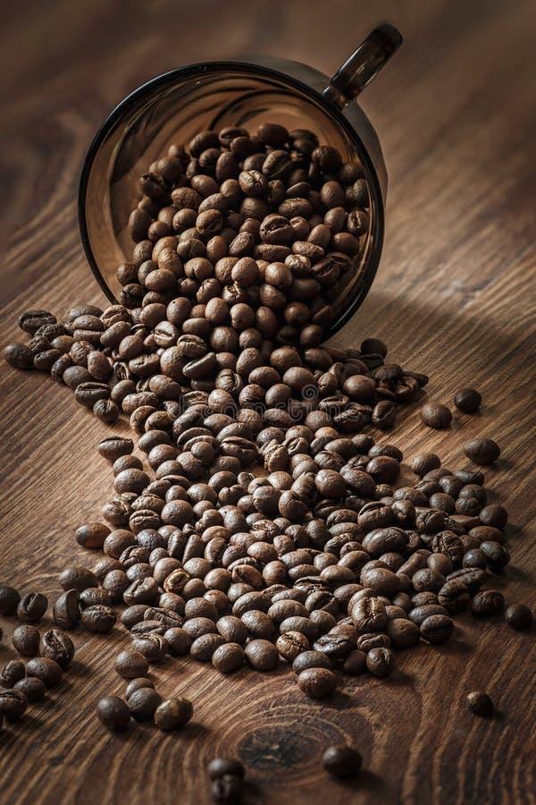 Los granos de café se dispersan en una tabla de madera en la luz de la mañana foto de archivo libre de regalías
