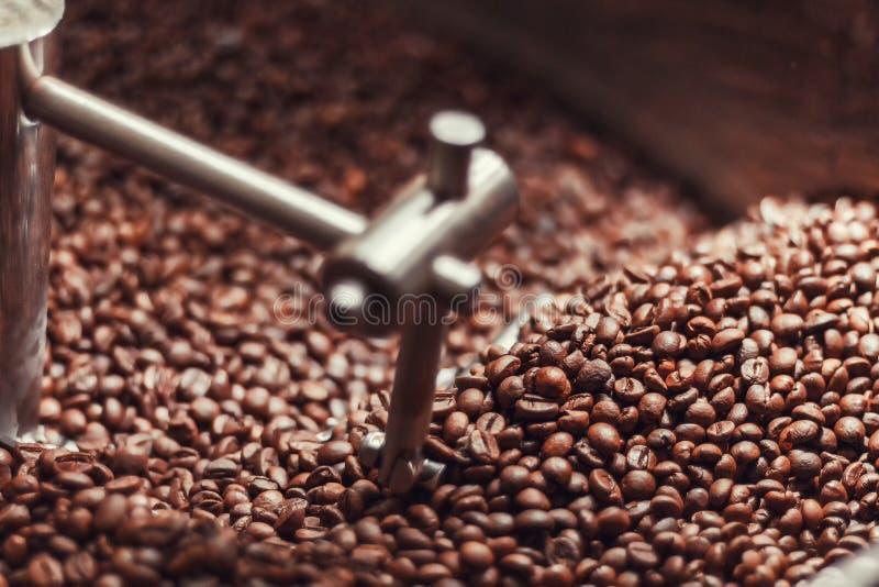 Los granos de café se refrescan después de asar en el asador fotos de archivo libres de regalías