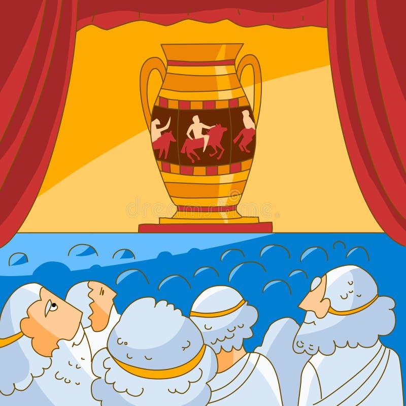 Los griegos clásicos miran el florero stock de ilustración