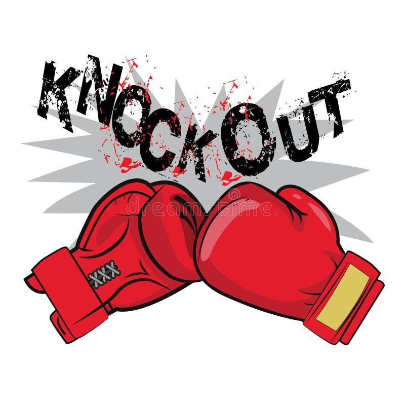 Los guantes y el texto de boxeo golpean hacia fuera Tema de la lucha del boxeo del diseño de la camiseta de la insignia de la eti libre illustration
