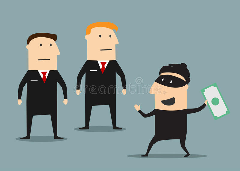 Los guardias de seguridad cogieron al ladrón con el dinero ilustración del vector