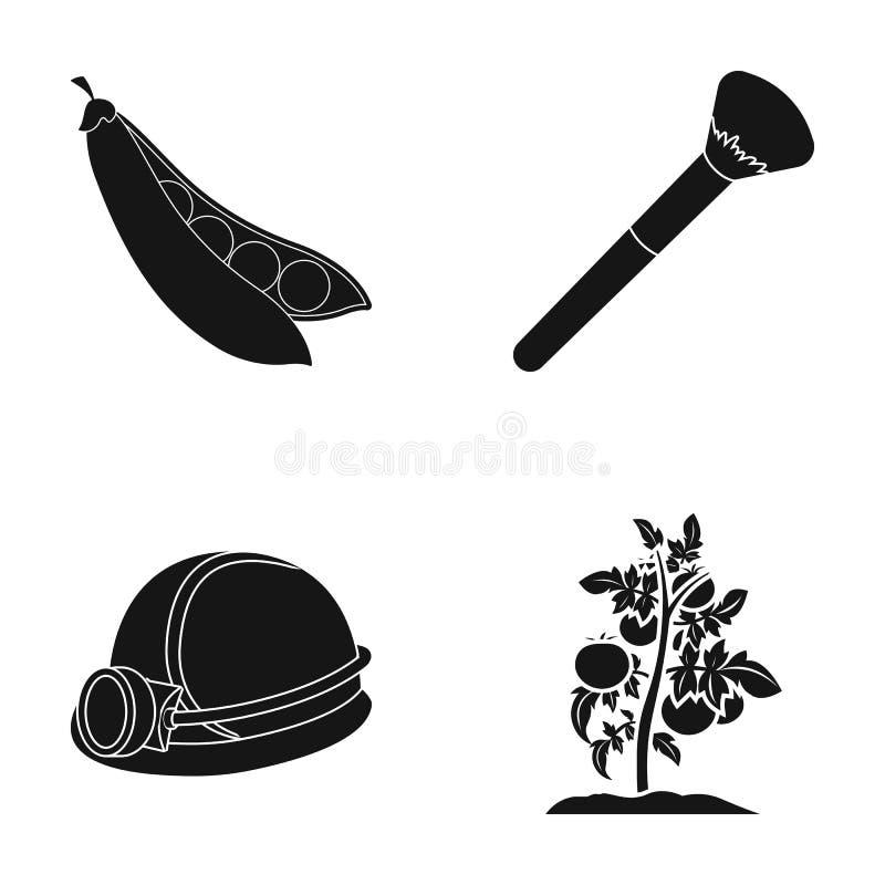 Los guisantes, el cepillo cosmético y el otro icono del web en estilo negro un casco del ` s del minero, iconos de un tomate en l stock de ilustración
