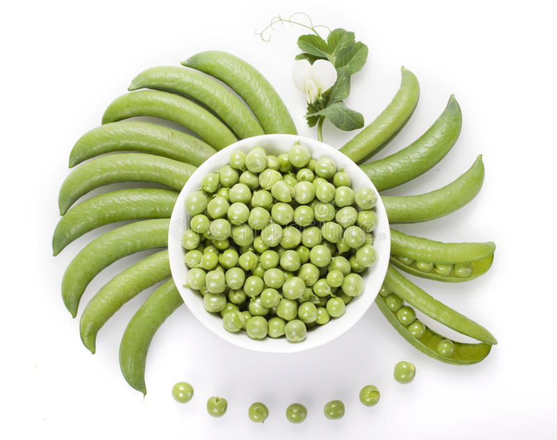 Los guisantes verdes frescos en un cuenco blanco, vainas de guisante son cuencos redondos, fotografía de archivo libre de regalías