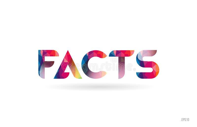 los hechos colorearon el texto de la palabra del arco iris conveniente para el diseño del logotipo ilustración del vector