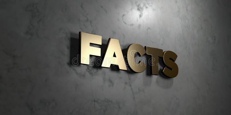 Los hechos - muestra del oro montada en la pared de mármol brillante - 3D rindieron el ejemplo común libre de los derechos libre illustration