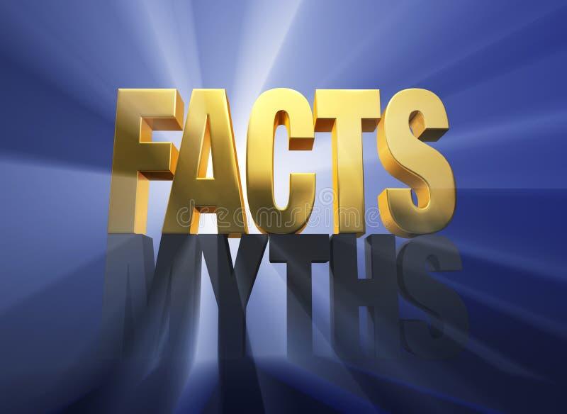 Los hechos vencen mitos stock de ilustración
