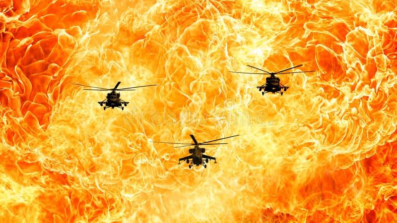 Los helicópteros en un fondo ardiente, fuego flamean foto de archivo libre de regalías