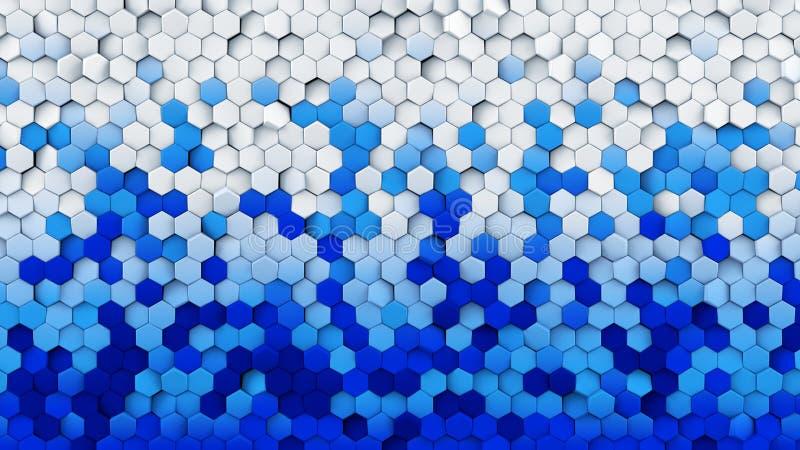 Los hexágonos blancos azules de la pendiente dieron vuelta a la representación abstracta 3D stock de ilustración