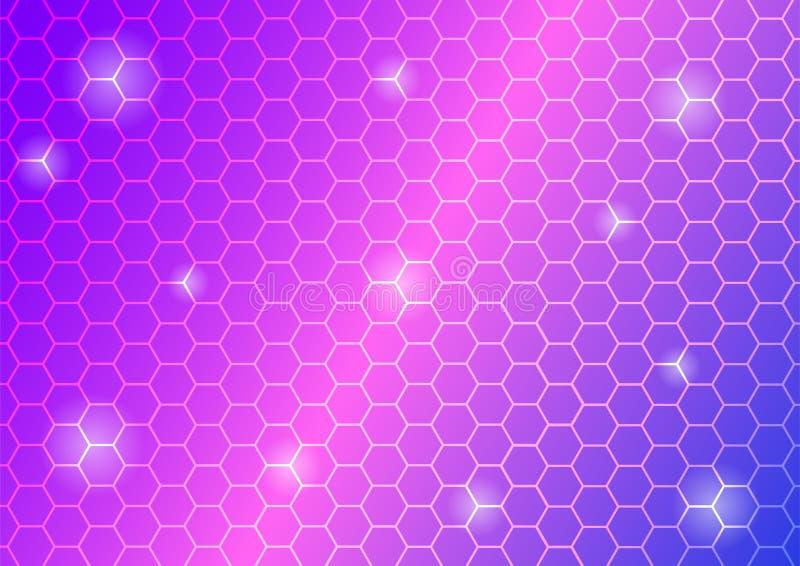 Los hexágonos brillantes abstractos enredan en el fondo del rosa, azul y púrpura libre illustration