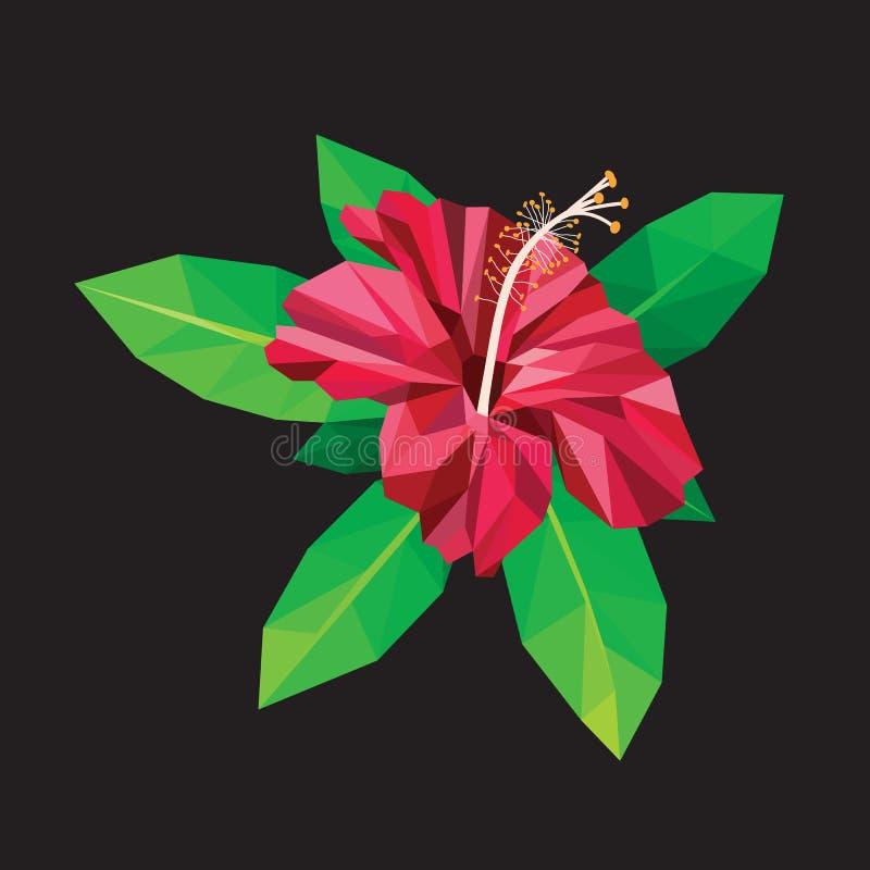 Los hibiscos rojos que florecen en polígono bajo negro diseñan libre illustration