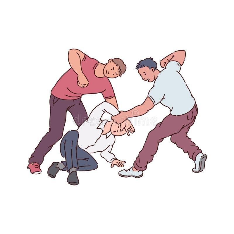 Los hombres agresivos o la gente joven atacan y baten el otro vector aislados en blanco ilustración del vector