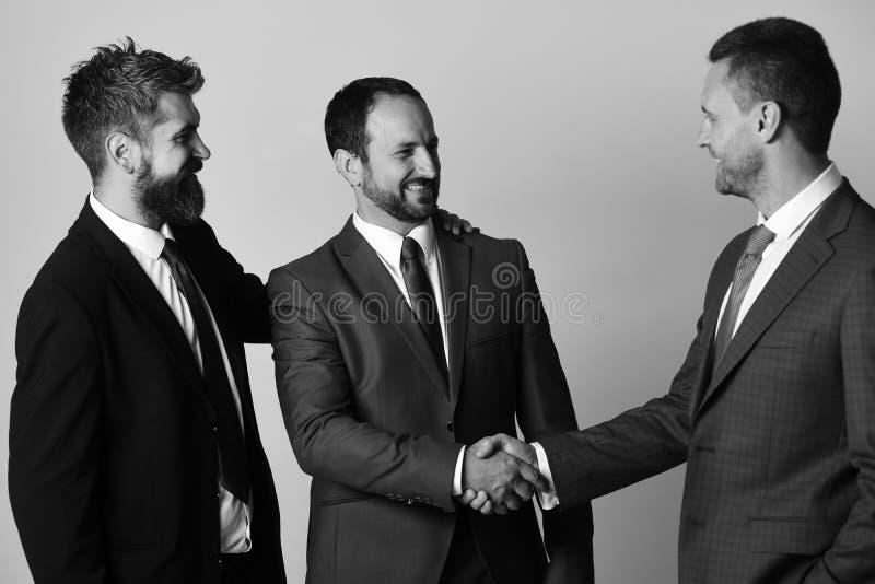 Los hombres con la barba y las caras sonrientes hacen trato acertado Los CEOs sacuden las manos en fondo gris claro Negocio y foto de archivo