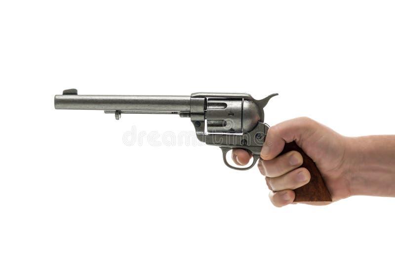 Los hombres dan con la pistola del revólver imagenes de archivo