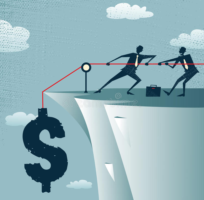 Los hombres de negocios abstractos trabajan juntos para ahorrar el lunes stock de ilustración