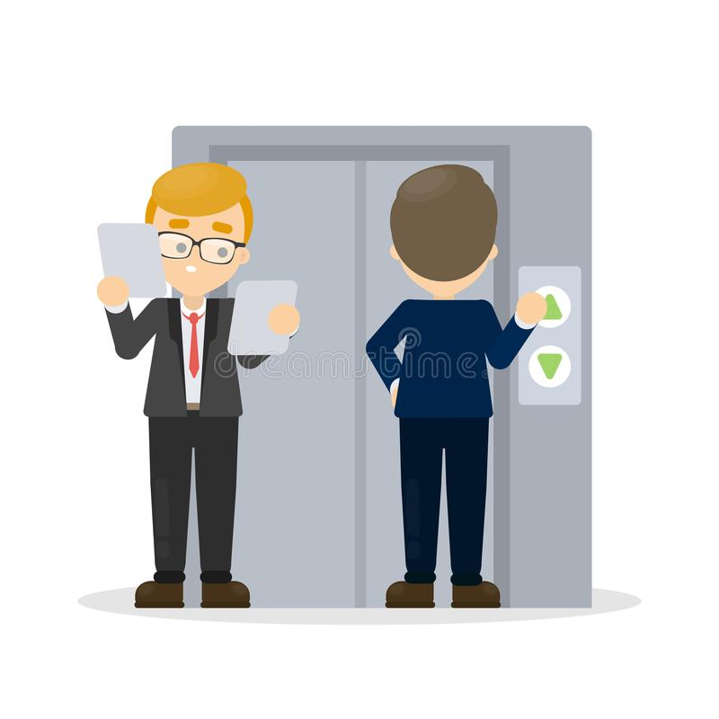 Los hombres de negocios acercan al elevador ilustración del vector
