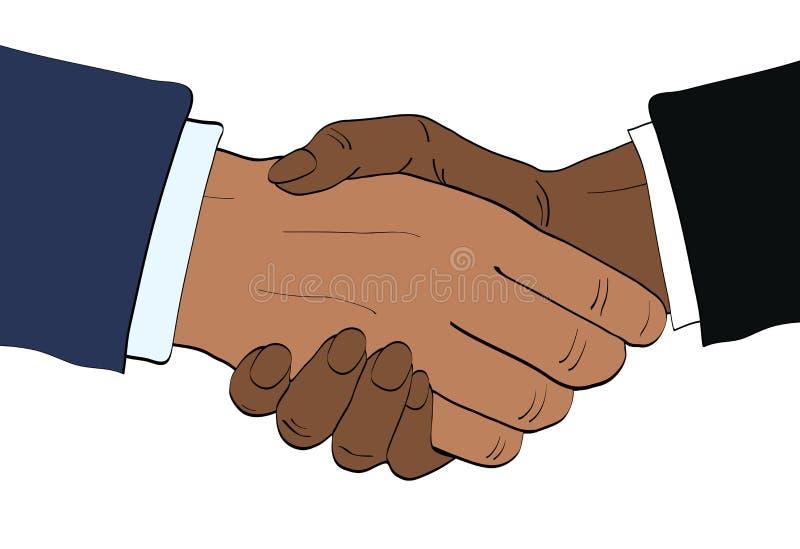 Los hombres de negocios afroamericanos sacuden el ejemplo del vector de las manos en retr ilustración del vector