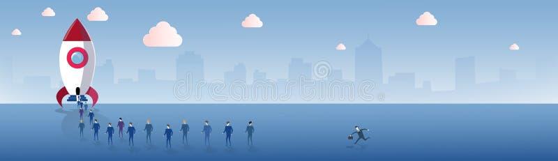 Los hombres de negocios agrupan caminar al concepto de Rocket Launch New Stratup Project del vehículo espacial libre illustration