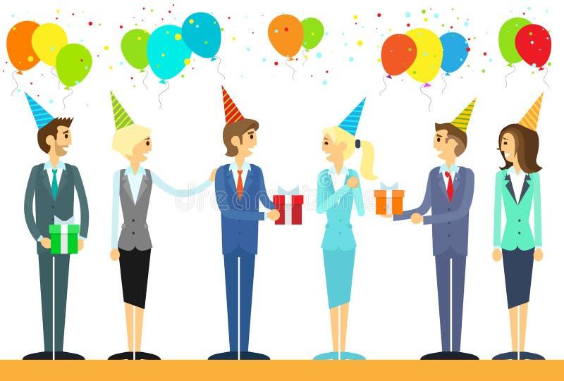 Los hombres de negocios agrupan celebran día de fiesta del cumpleaños ilustración del vector