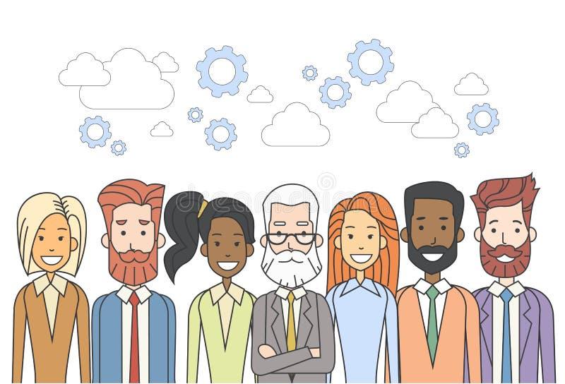 Los hombres de negocios agrupan concepto diverso del trabajo en equipo de los recursos humanos libre illustration