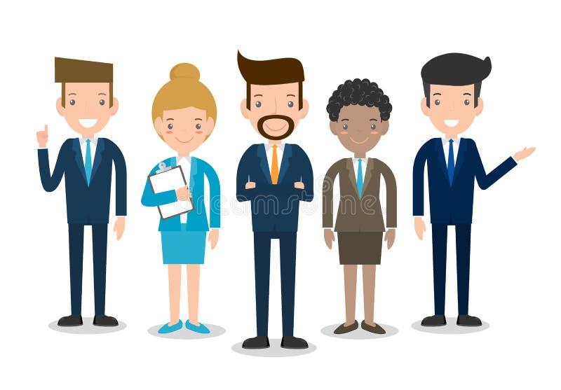 Los hombres de negocios agrupan el equipo diverso del equipo, del negocio de empleados y del jefe, el hombre de negocios y a la e ilustración del vector
