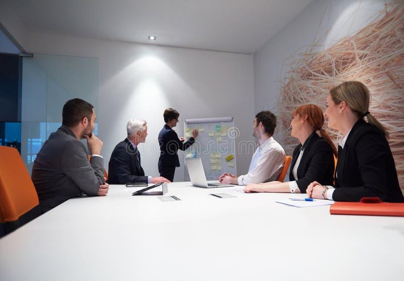 Los hombres de negocios agrupan en la reunión imagenes de archivo