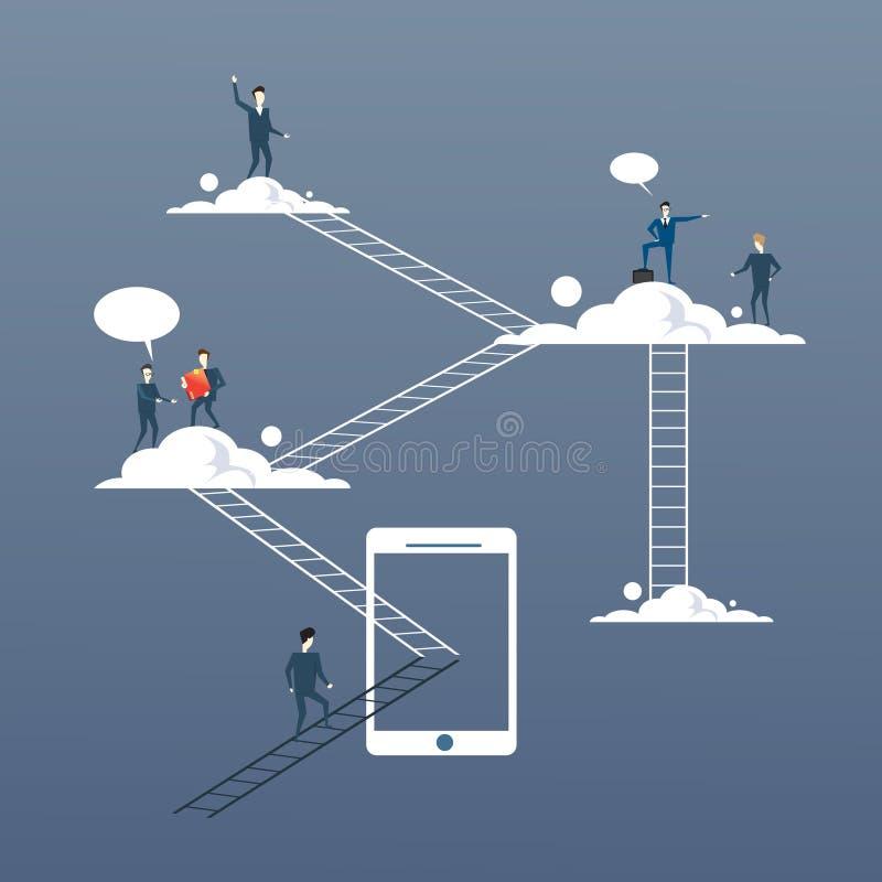 Los hombres de negocios agrupan en las nubes, acceso a datos corporativo de Internet en línea de la tecnología de la conexión libre illustration