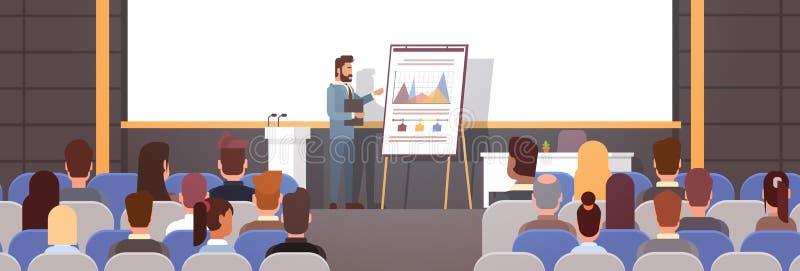 Los hombres de negocios agrupan en los cursos de aprendizaje de la reunión de la conferencia Flip Chart con el gráfico stock de ilustración