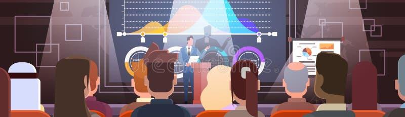 Los hombres de negocios agrupan en los cursos de aprendizaje de la reunión de la conferencia Flip Chart con el gráfico ilustración del vector