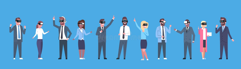 Los hombres de negocios agrupan la bandera horizontal de los vidrios de la realidad virtual de las auriculares de Vr que lleva stock de ilustración