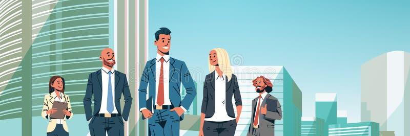 Los hombres de negocios agrupan a mujeres acertadas de los hombres del equipo diverso sobre el retrato hembra-varón del personaje libre illustration