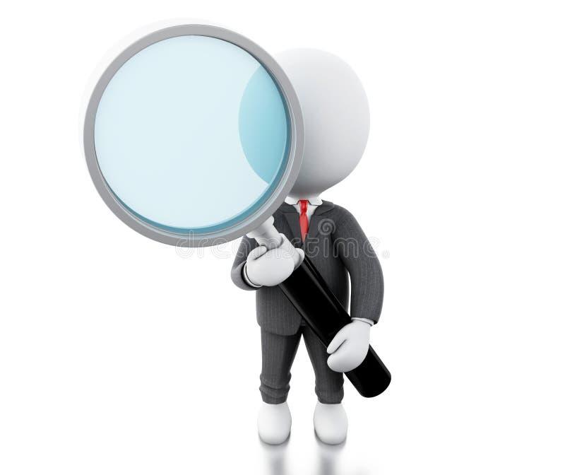 los hombres de negocios blancos 3d examinan a través de una lupa ilustración del vector