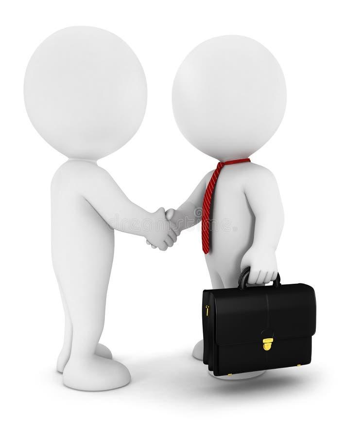 los hombres de negocios blancos de la gente 3d pulso un acuerdo, nosotros stock de ilustración